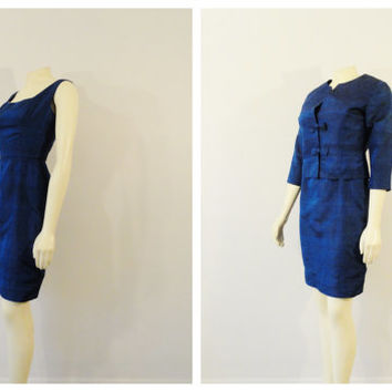 Vintage Dress Suit 50s Blue Dress and Bow Jacket Fitted Tinytue Modern XS