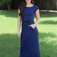The Boyfriend Maxi Dress - Navy | Dresses | Kiki LaRue