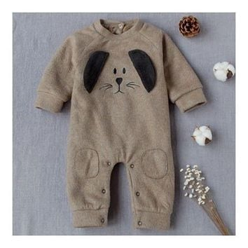 Infant Baby Boy Girl Thick Warm Rompers One-pieces Puppy Pattern 0-1-2 years old