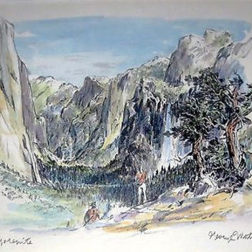 Yosemite Lithograph Print w Watercolor Hand Painting - George Mathis Jean Mathis