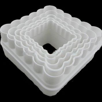 5PCS Cupcake Square Shape Cookie Cutter Set plastic cake bread/toast/sushi/rice Cutter Biscuit Stamp Cake Decorations Tool