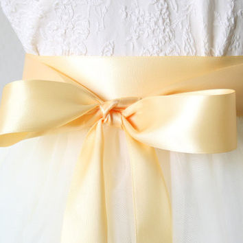 Satin Ribbon Belt - Buttercup Yellow, 1.5 Inches Wide
