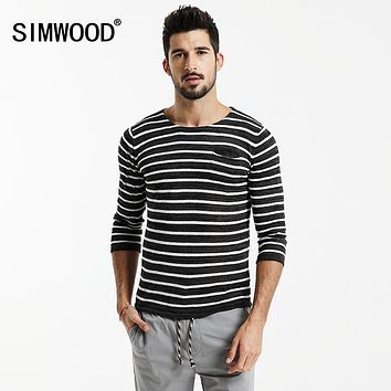 Autumn Three Quarter Striped T Shirts Men Slim Fit Linen Breathability Breton Top