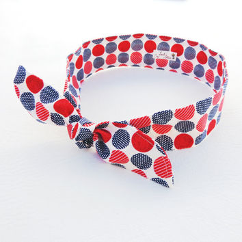 The Boardwalk Breeze Headband red white and blue dot dolly bow patriotic headband inspired by vintage fashion