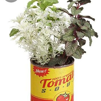"Artificial Potted Herb Garden Arrangement in Tin Can - 10"" Tall"
