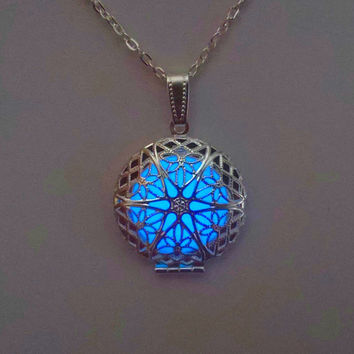 Blue Glowing Necklace - Locket Glowing Jewelry - Teen Gift - Glowing Pendant - Valentines Day - Glow in the Dark Necklace - Gifts for Her