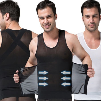HEXIN Men's sexy Slimming Body Shaper Belly Thermal Waist Girdle Underwear Men Sport Vest Shirt Corset Compression Shapewear = 1697112772