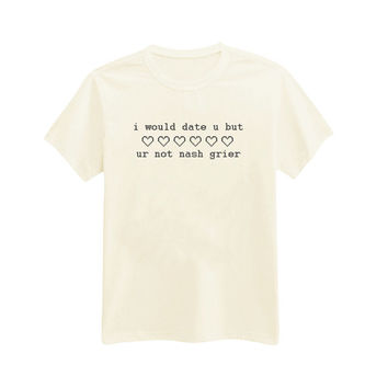 i-652 - i would date u but ur not nash grier - Pixel Heart - Printed T-Shirt - by HeartOnMyFingers
