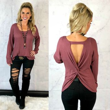 Stay True Twist Back Top: Mauve