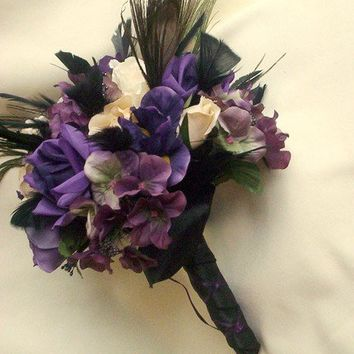 Peacock Purple Bridal Bouquet Set by AmoreBride on Etsy