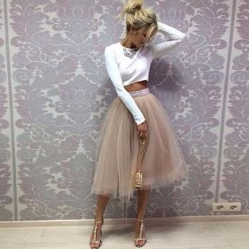 Champagne Tutu Skirt Band Zipper Waistline Midi Skirt