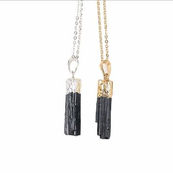Gold & Silver Dipped Black Tourmaline Pendant Necklace