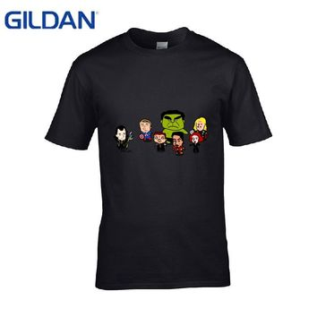 Gildan Marvel Avengers Captain America Iron Spiderman Hulk Thor Loki Hawkeye T Shirt Men Sunlight Cotton Tshirt Slim