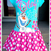 girls Olaf dress frozen fever girls size 4 5 6 and 6X ready to ship