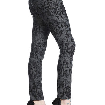 Banned Cameo Skull Lady Rose & Cross Gothic Skinny Jeans
