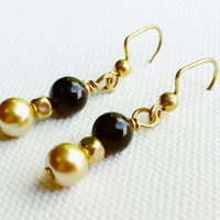 Black & Gold Pearl Beaded Earrings - Gold Pearl Earrings - Pearl Drop Earrings - Gold Pearl Drop Earrings - Gold and Black Wedding - SALE