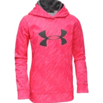 Under Armour Girls' Power In Pink Armour Fleece Storm Printed Big Logo Hoodie - Dick's Sporting Goods