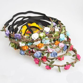 1Pc New Bohemian Wreath Flower Crown Wedding Garland Forehead Hair Head Band Headwear