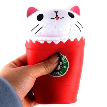 14cm Cut Cappuccino Coffee Cup Cat Scented Squishy Slow Rising Toy