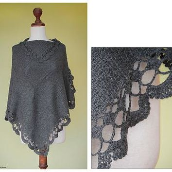 Hand Crafted Peruvian Alpaca Wool Blend Poncho - Arequipa Gray | NOVICA