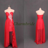 flowing red chiffon christmas dresses with crystals unique long applique prom gowns cheap sweetheart dress for party