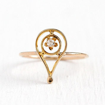 Antique Diamond Ring - 10k Yellow Gold Exclamation Motif - Vintage Edwardian 1900s Size 6 Stickpin Conversion Fine Buttercup Jewelry
