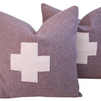 Swiss Wool Blanket   Pillows, Pair