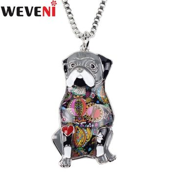 WEVENI Statement Sitting Pug Dog Necklace Pendants