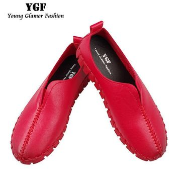YGF Women Platform Loafer Slip on Casual Shoes 2017 Fashion Leather Flats Handmade Sho