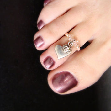 Toe Ring - Heart Rose Charm - Pink Rose Crystals- Stretch Bead Toe Ring