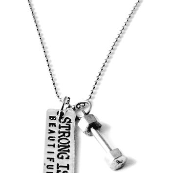 Strong Is Beautiful Dumbbell Necklace