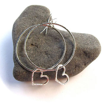 Silver Hoop Earrings, Hammered, Hearts, Valentines Day, Gift for Her, Love, Sterling Silver, Handmade,