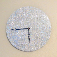 Wall Clock, Silver Glitter Clock, Quiet Clock, Home and Living, Decor & Housewares, Living Room Decor, Unique Wall Clocks