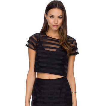 Black Striped Mesh Cropped Top