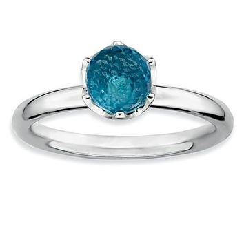 Sterling Silver Stackable Expressions Blue Topaz Briolette Ring