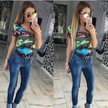 Multicolor Camouflage Print Short Sleeve T-Shirt