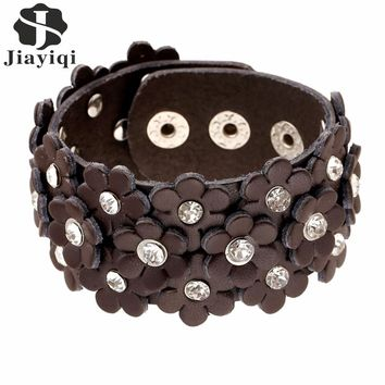 Jiayiqi 2017  Wide Real Leather Bracelets Rhinestone Flower  Bracelet & Bangles Crystal Vintage Friendship for Women/Men