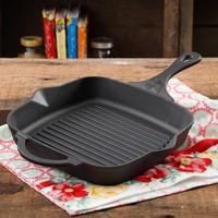 "The Pioneer Woman Timeless Pre-Seasoned Plus Cast Iron 10.25"" Square Grill Pan - Walmart.com"