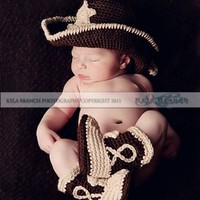 Baby Cowboy Hat and Boots Chocolate Brown and Tan Newborn and beyon...... | ConniesCrochet - Children's on ArtFire