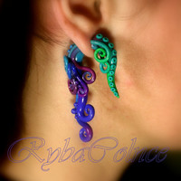 Fake ear tentacle gauge - Faux gauge/Gauge earrings/Tentacle plug/tentacle earrings /spiral gauge/ fake piercing