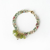 Greenery Peridot Bracelet, Pantone Color of the Year 2017, Foliage Nature Jewelry