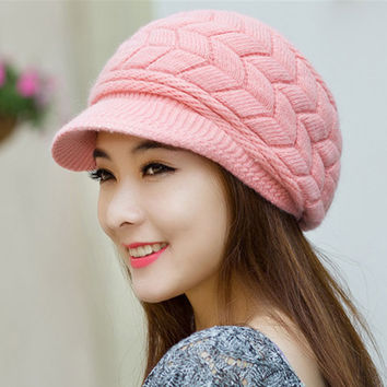 8 colors Womens Ladies Winter Warm Knit Crochet Slouch Baggy Beanie Hat Cap for women  Free shipping