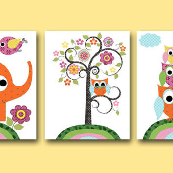 Owl Decor Owl Nursery Elephant Nursery Baby Girl Nursery Decor Children Art Print Baby Nursery Print Girl set of 3 Tree Orange Green