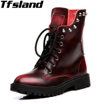 Tfsland Winter Warm Plush Martin Boots Women Rivet Leather Short Snow Boots Lace Up Fur Shoes Cool Skull Walking Shoes Sneakers