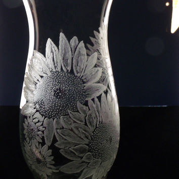 sunflower hurricane vase , clear glass vase, hand engraved , mother's day , gift ideas