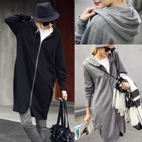 Women Loose Hooded Zipper Super Sweatshirt Long Sweater Plus Size Outwear = 1667673156