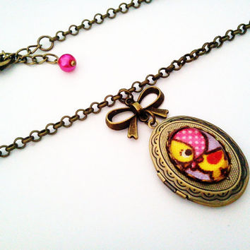 Little Miss Ducky Cameo Locket Antique Brass by glamasaurus