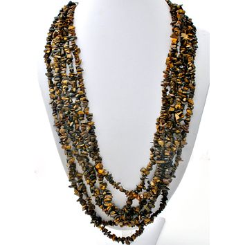 Multi Strand Tigers Eye Nugget Bead Necklace