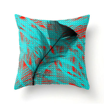 Black Feather decorative pillow - teal red black decor contemporary abstract design scatter cushion, pillow cover, cushion cover, home decor