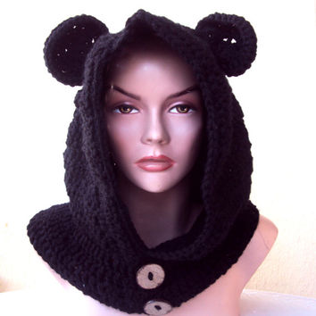 Hooded Bear Cowl Scarf Bear Ears Hat Infant  Baby to Adult Size